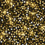 Schitter naadloze textuur Daadwerkelijke gouden deeltjes Eindeloos die patroon van fonkelende harten wordt gemaakt majestic stock illustratie
