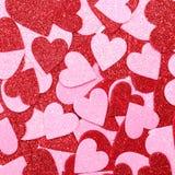 Schitter Rode en Roze Harten. Achtergrond. Valentijnskaartendag Royalty-vrije Stock Fotografie