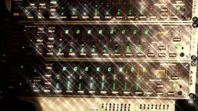 Schitter studio audiomixer binnen van het bron nachtclubvolume effect stock videobeelden