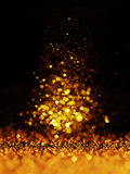 Schitter uitstekende lichtenachtergrond donkere goud en zwarte Kerstman Klaus, hemel, vorst, zak royalty-vrije stock foto's