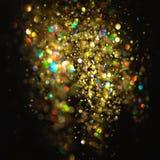 Schitter uitstekende lichtenachtergrond donkere goud en zwarte Kerstman Klaus, hemel, vorst, zak royalty-vrije stock fotografie