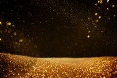 Schitter uitstekende lichtenachtergrond Zwarte en Goud DE-geconcentreerd stock illustratie