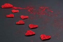 Schitter Valentine Hearts Stock Afbeelding