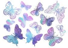 Schitter van de de VLINDERSkleur van Klemkunsten PURPERE van het de Illustratie Magische Mooie Beeld Vector de Verftekening Vastg vector illustratie