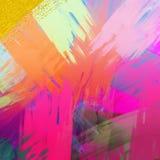 Schitter verspreid op achtergrond Gekleurde Canvas het schilderen achtergrond Decor als thema gehad ontwerp Kwaststreken geschild stock illustratie