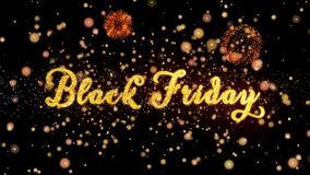 Schitteren de Abstracte deeltjes van Black Friday en de kaarttekst van de vuurwerkgroet royalty-vrije illustratie