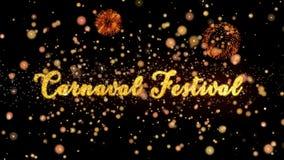 Schitteren de Abstracte deeltjes van het Carnavalfestival en de kaarttekst van de vuurwerkgroet royalty-vrije illustratie