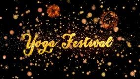 Schitteren de Abstracte deeltjes van het yogafestival en de kaarttekst van de vuurwerkgroet stock illustratie