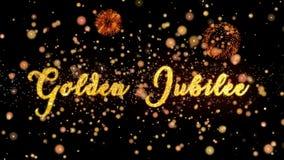 Schitteren de gouden jubileum Abstracte deeltjes en de kaarttekst van de vuurwerkgroet royalty-vrije illustratie