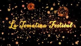 Schitteren de het Festival Abstracte deeltjes van La Tomatina en de kaarttekst van de vuurwerkgroet stock illustratie