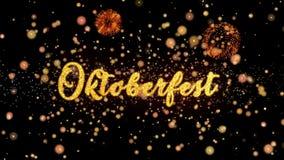 Schitteren de Oktoberfest Abstracte deeltjes en de kaarttekst van de vuurwerkgroet stock illustratie