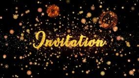 Schitteren de uitnodigings Abstracte deeltjes en de kaarttekst van de vuurwerkgroet stock illustratie