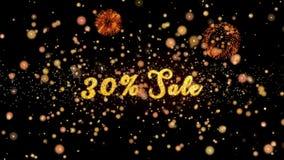 30% schitteren de verkoop Abstracte deeltjes en de kaart van de vuurwerkgroet vector illustratie