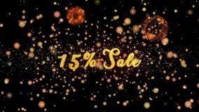 15% schitteren de verkoop Abstracte deeltjes en de kaart van de vuurwerkgroet vector illustratie