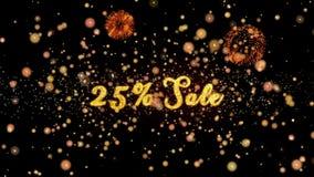 25% schitteren de verkoop Abstracte deeltjes en de kaart van de vuurwerkgroet royalty-vrije illustratie