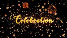 Schitteren de vierings Abstracte deeltjes en de kaart van de vuurwerkgroet vector illustratie