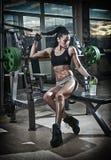 Schitterend brunette die sommige gewichten opheffen en aan haar bicepsen in een gymnastiek werken Geschiktheidsvrouw die training Stock Afbeelding