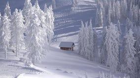 Schitterend die de winterlandschap van bergen en sparren met sneeuw worden behandeld stock videobeelden