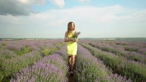 Schitterend Meisje op Lavendelgebied stock footage