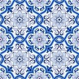 Schitterend naadloos patroon van donkerblauwe en witte Marokkaanse, Portugese tegels, Azulejo, ornamenten kan worden gebruikt voo royalty-vrije illustratie