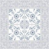Schitterend naadloos patroon van tegels en grens Marokkaans, Portugees, Turks, Azulejo-ornamenten Voor behang, vult het patroon,  Stock Afbeeldingen