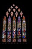 Schitterend voorbeeld van gebrandschilderd glasvenster Stock Afbeelding