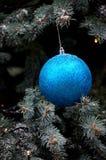 Schitterende blauwe hangende baldecoratie op Kerstboom Royalty-vrije Stock Foto