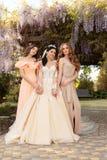 Schitterende bruid in luxueuze huwelijkskleding, die met mooie bruidsmeisjes in elegante kleding stellen Stock Foto