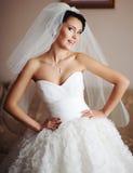 Schitterende donkerbruine bruid Royalty-vrije Stock Afbeeldingen