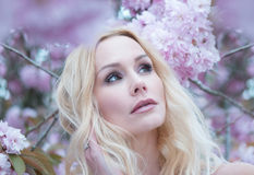 Schitterende dromerige jonge vrouw in de lente Stock Foto