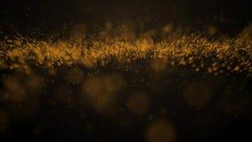 Schitterende gouden de motieachtergrond 4K van de deeltjesgolf motiegrafiek geanimeerde deeltjes vector illustratie