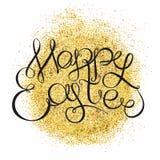 Schitterende gouden van letters voorziende tekst als achtergrond en hand Gelukkige Easte Royalty-vrije Stock Afbeelding