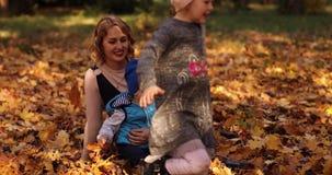 Schitterende jonge moeder die met twee jonge geitjes van zonnige de herfstdag op het gebladerte genieten stock videobeelden