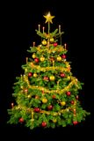 Schitterende Kerstboom op zwarte Stock Fotografie