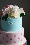 Schitterende kleurrijke huwelijkscake Stock Afbeelding