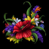 Schitterende landelijke bloemen, bloemenachtergrond vector illustratie