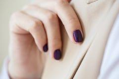 Schitterende manicure, donker purper teder kleurennagellak, close-upfoto Het wijfje overhandigt eenvoudige achtergrond van vrijet Stock Afbeelding