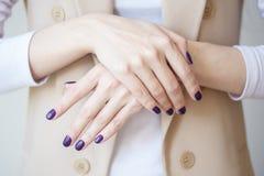 Schitterende manicure, donker purper teder kleurennagellak, close-upfoto Het wijfje overhandigt eenvoudige achtergrond van vrijet Royalty-vrije Stock Afbeeldingen