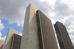 Schitterende mening in moderne architectuur van Bureau gebouwen 1-4, het Plein van de Staat van Albany, Albany, New York, 2015 Royalty-vrije Stock Foto's