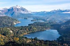 Schitterende mening vanaf de bovenkant van Cerro Companario in Argentinië ` s Patagonië stock afbeelding