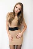 Schitterende modieuze jonge brunette. stock foto's