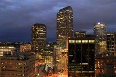 Schitterende nachthorizon, Denver van de binnenstad, 2015 Royalty-vrije Stock Foto's