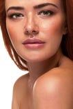 Schitterende rode hoofdvrouw met grote lippen stock afbeeldingen