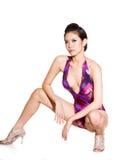Schitterende vrouw in zwempak royalty-vrije stock fotografie