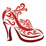 Schitterende vrouwelijke rode high-heeled schoenen met patroon en riem royalty-vrije illustratie
