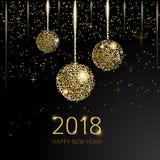 2018 schittert de Gelukkige Nieuwjaarachtergrond met gouden ballen op zwarte achtergrond Stock Fotografie