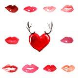 Schittert de kussen rode lippenstift van de het terracottaliefde van het lippen de rode scharlaken roze karmijn waterverf van de  stock illustratie