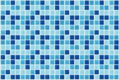 Schittert de vierkante blauwe die de textuurachtergrond van het tegelmozaïek wordt verfraaid met Stock Foto