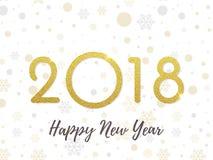 2018 schittert het Gelukkige de kaartgoud van de Nieuwjaargroet achtergrond vectoraantallenontwerp vector illustratie