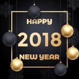 2018 schittert het Gelukkige goud van de Nieuwjaarluxe vector de sneeuwvlokachtergrond van de groetkaart Royalty-vrije Stock Afbeelding